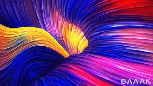پس زمینه انتزاعی با خطوط رنگی در هم پیچیده