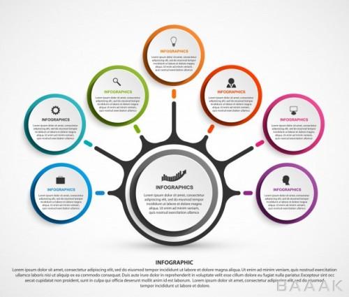 مدرن اینفوگرافیک 7 مرحلهای کسب و کار همراه با آیکون