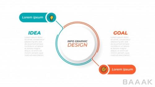 اینفوگرافیک 2 قسمتی مفهومی همراه با آیکون برای ارائه