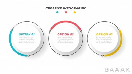 طرح اینفوگرافیک 3 مرحلهای کسب و کار برای ارائه