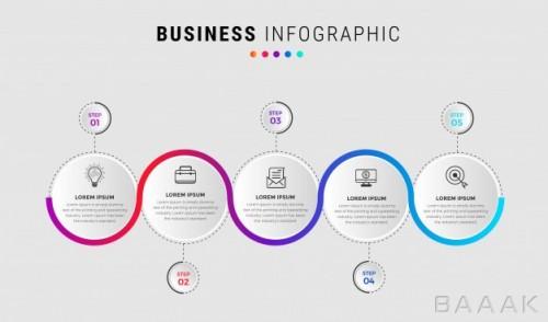 قالب اینفوگرافیک 5 مرحلهای کسب و کار همراه با خطوط اتصال و آیکون