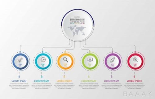 قالب اینفوگرافیک 6 مرحلهای کسب و کار همراه با خطوط اتصال و آیکون
