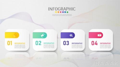 طرح اینفوگرافیک 4 قسمتی کسب و کار با پس زمینه انتزاعی