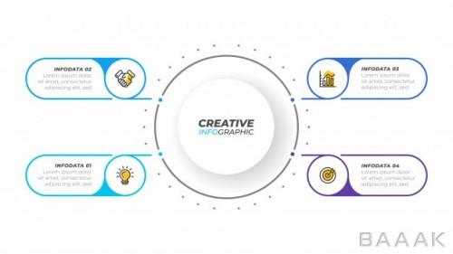 قالب اینفوگرافیک 4 مرحلهای کسب و کار همراه با آیکون