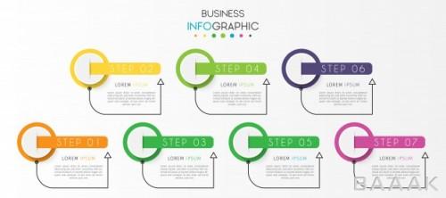 قالب اینفوگرافیک 7 قسمتی کسب و کار برای ارائه