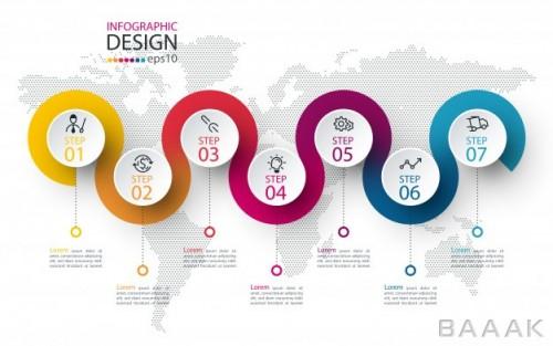 قالب اینفوگرافیک 7 مرحلهای مدرن همراه با آیکون و پس زمینه نقشه جهان