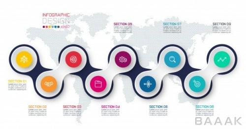 اینفوگرافیک 9 مرحلهای با قالب متصل شده و پس زمینه نقشه جهان برای ارائه