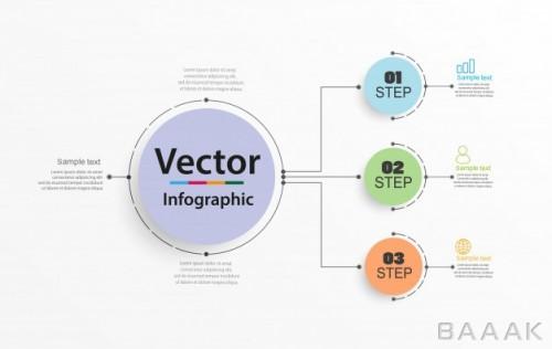 طرح اینفوگرافیک 3 قسمتی همراه با خطوط اتصال و آیکون