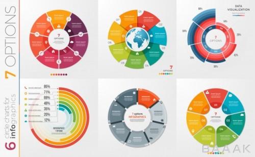 مجموعه 6 طرح اینفوگرافیک دایروی همراه با 7 قسمت برای متون دلخواه