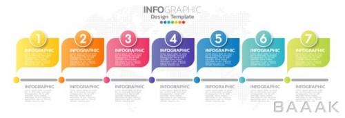 قالب اینفوگرافیک 7 مرحلهای با رنگ های متنوع