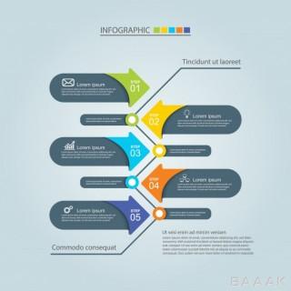 طرح اینفوگرافیک 5 مرحلهای کسب و کار همراه با آیکون