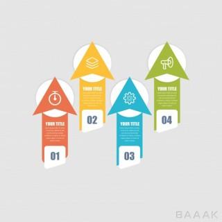 اینفوگرافیک 4 مرحلهای همراه با آیکون برای ارائه