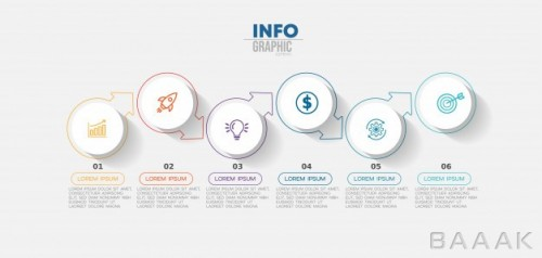 اینفوگرافیک 6 مرحلهای کسب و کار همراه با آیکون