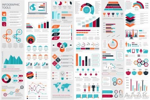 مجموعه عظیم اینفوگرافیک نمودارهای مختلف برای ارائه و تصویرسازی دادهها