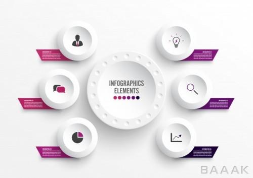 اینفوگرافیک 6 قسمتی مفهومی کسب و کار همراه با آیکون