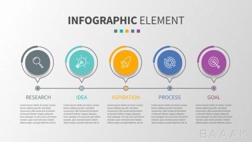 قالب اینفوگرافیک مینیمال 5 مرحلهای جدول زمانی همراه با آیکون برای کسب و کار