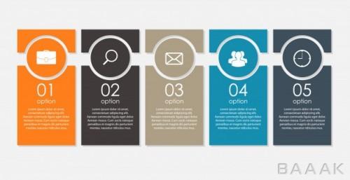 قالب اینفوگرافیک 5 مرحلهای کسب و کار همراه با آیکون
