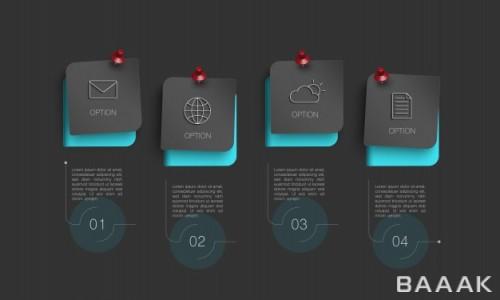 قالب اینفوگرافیک مدرن 4 قسمتی همراه با آیکون برای ارائه