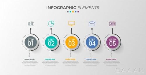 طرح اینفوگرافیک 5 مرحلهای همراه با خطوط اتصال و آیکون برای ارائه