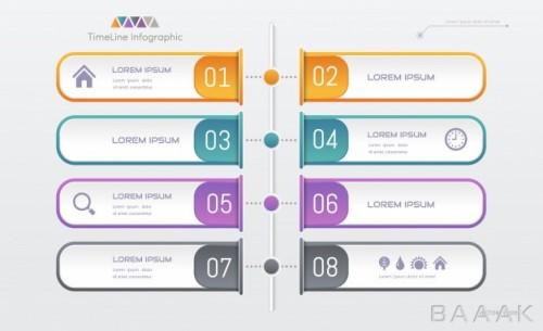 قالب اینفوگرافیک 8 مرحلهای همراه با آیکون