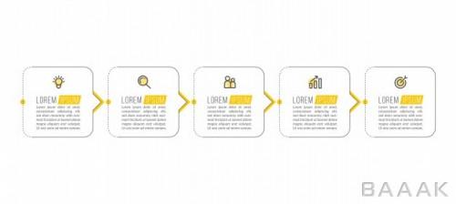 قالب اینفوگرافیک مینیمال 5 مرحلهای جدول زمانی برای کسب و کار