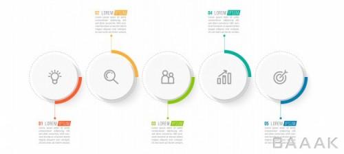 قالب اینفوگرافیک 5 مرحلهای مینیمال همراه با آیکون برای ارائه