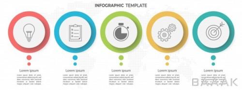 قالب اینفوگرافیک 5 مرحلهای جدول زمانی برای کسب و کار