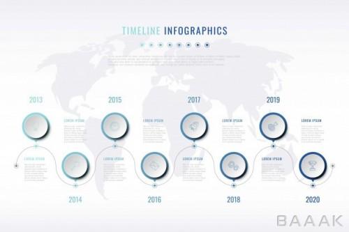 اینفوگرافیک جدول زمانی استراتژی موفقیت کسب و کار همراه با خطوط اتصال و آیکون