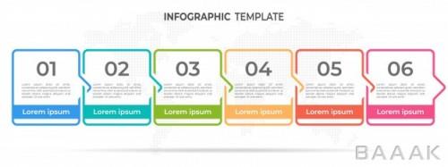 مدرن اینفوگرافیک 6 قسمتی جدول زمانی برای ارائه