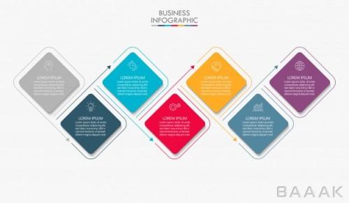 قالب اینفوگرافیک کسب و کار همراه با آیکون