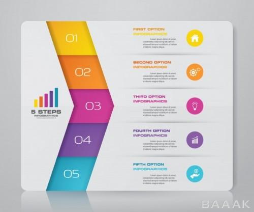 اینفوگرافیک 5 مرحلهای مدرن همراه با آیکون برای ارائه