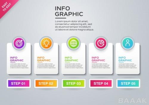 اینفوگرافیک 5 مرحلهای کسب و کار همراه با آیکون برای ارائه