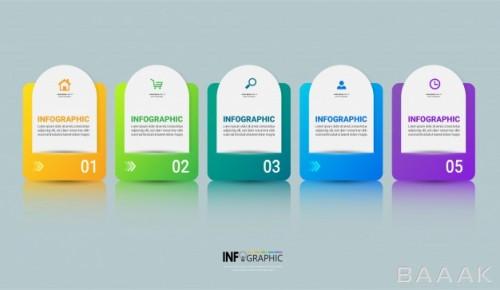 قالب اینفوگرافیک 5 قسمتی کسب و کار همراه با آیکون برای ارائه