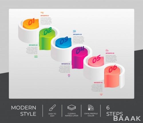 طرح اینفوگرافیک 3 بعدی 6 مرحلهای همراه با آیکون