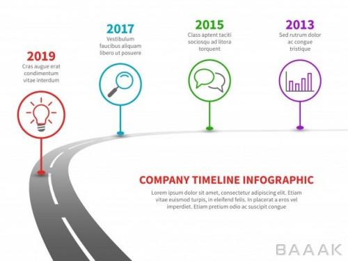 قالب اینفوگرافیک جدول زمانی استراتژی موفقیت کسب و کار با طرح جاده