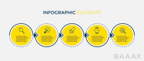 قالب اینفوگرافیک 5 مرحلهای همراه با آیکون برای ارائه