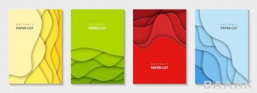 مجموعه 4 پوستر عمودی با استایل برشهای انحنادار