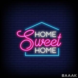 پوستر با استایل نئون و نوشته Home Sweet