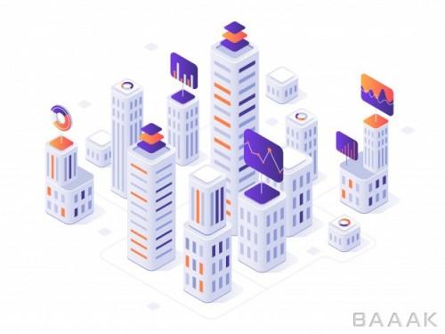 مجموعه تصاویر ایزومتریک برج و ساختمانهای بلند به همراه اینفوگرافیک