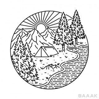 تصویر گرافیکی طبیعت به همراه کمپ، درخت و کوه