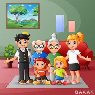 تصویر اعضای خانواده در کنار هم در خانه