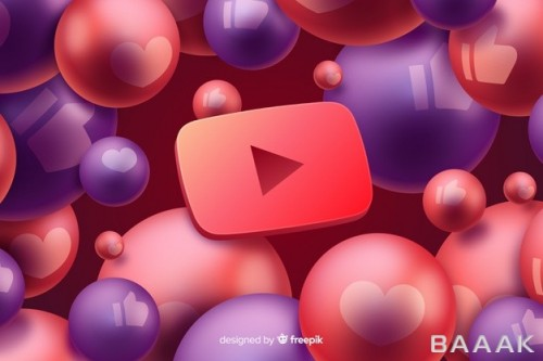 تصویر پس زمینه انتزاعی سه بعدی با لوگوی یوتیوب