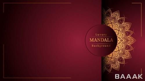 پس زمینه لوکس طلایی و زرشکی با استایل ماندالا