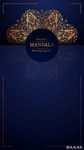 پس زمینه عمودی لوکس ماندالا با زمینه طلایی و آبی رنگ