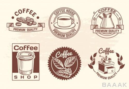 ست وکتوری از آیکون های زیبا با تم قهوه