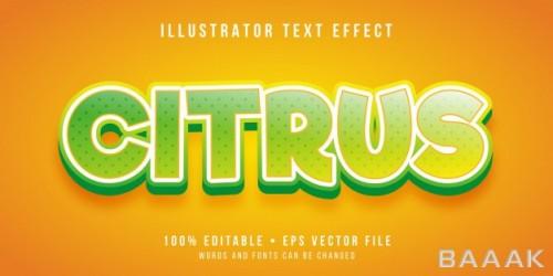 افکت متن مدرن و جذاب Editable text effect citrus fruit style