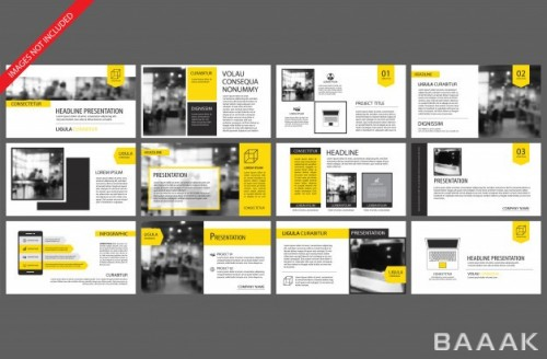 اینفوگرافیک زیبا Yellow element slide infographic background