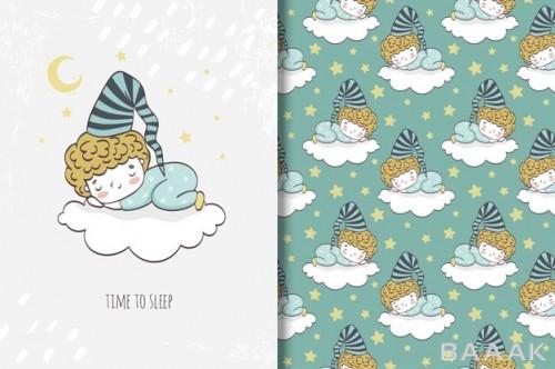 پترن خاص و خلاقانه Little boys sleeping cloud