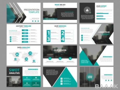 اینفوگرافیک فوق العاده Business presentation infographic elements template set annual report corporate horizontal brochure design template