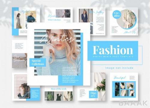 شبکه اجتماعی فوق العاده Blue fashion social media post template banners